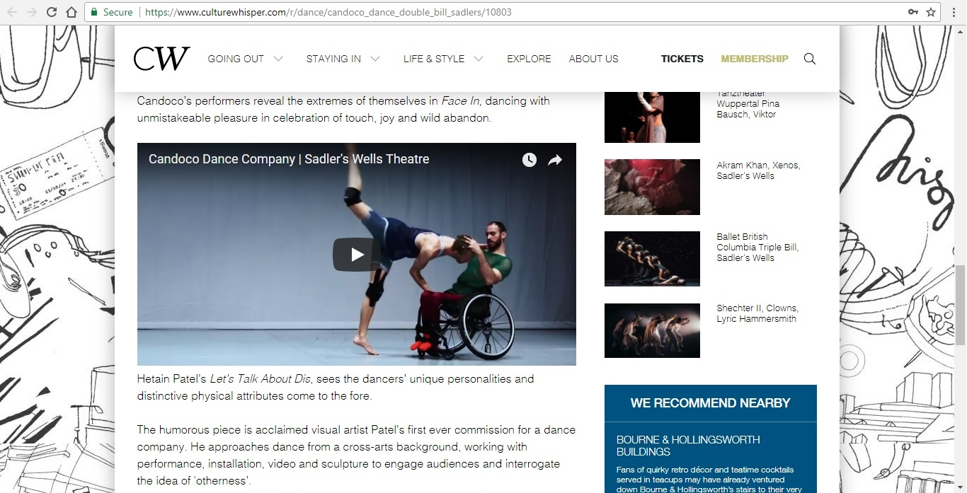 Screenshot of Culture Whisper content by Georgina Butler. Preview of Candoco Dance Company Double Bill, image 4
