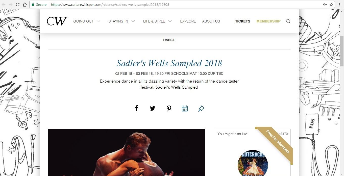 Screenshot of Culture Whisper content by Georgina Butler. Preview of Sadler's Wells Sampled 2018, image 1