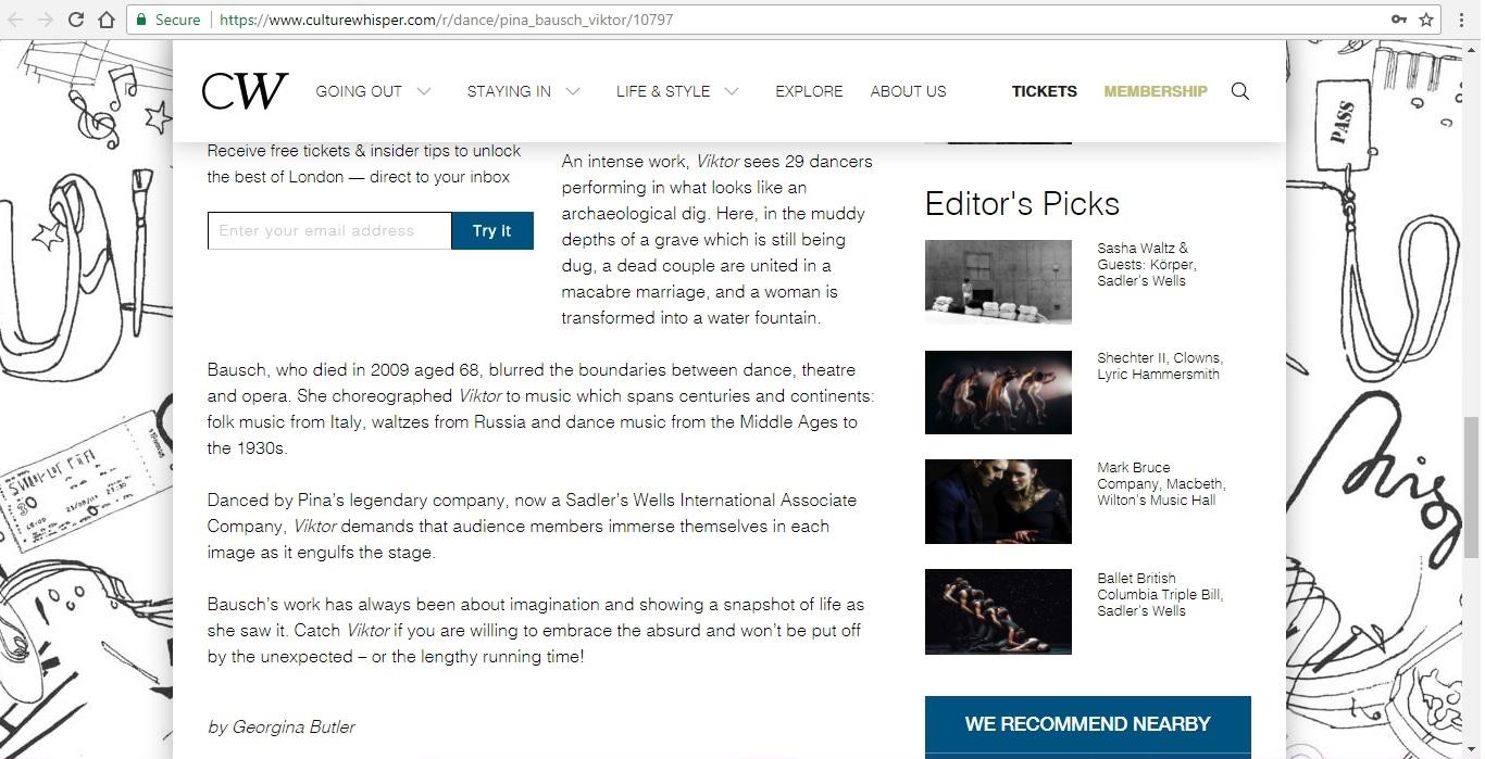 Screenshot of Culture Whisper content by Georgina Butler. Preview of Tanztheater Wuppertal Pina Bausch: Viktor, image 4