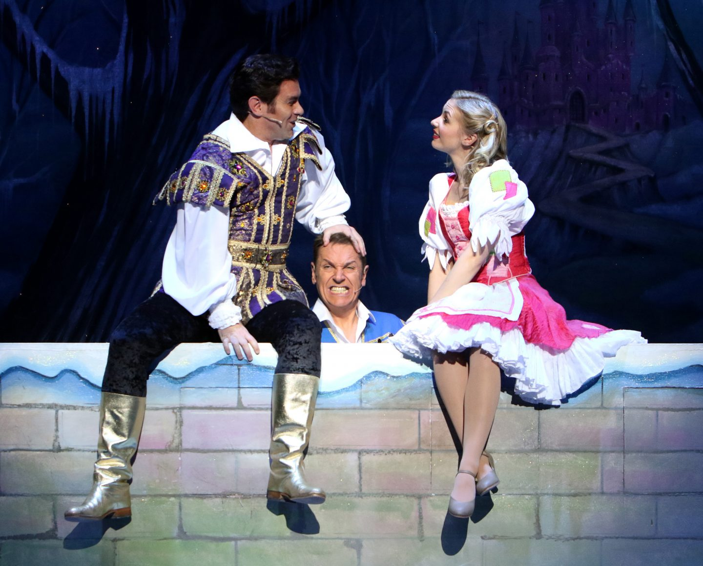 Pantomime stars Matthew Goodgame, Brian Conley and Lauren Hall in Cinderella, Milton Keynes Theatre, Christmas 2017