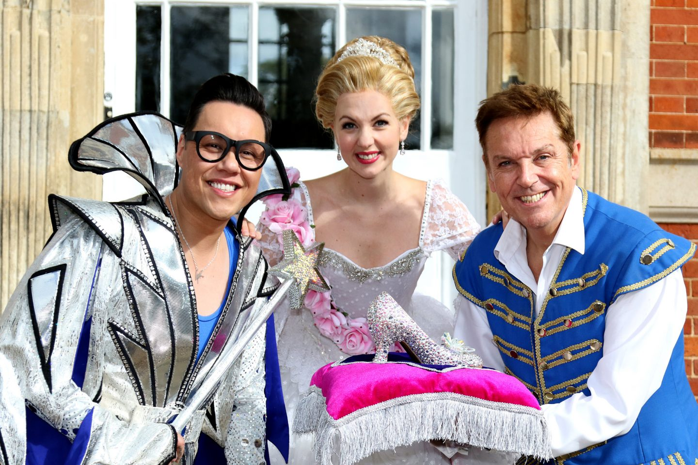 Pantomime stars Gok Wan, Lauren Hall and Brian Conley in Cinderella, Milton Keynes Theatre, Christmas 2017