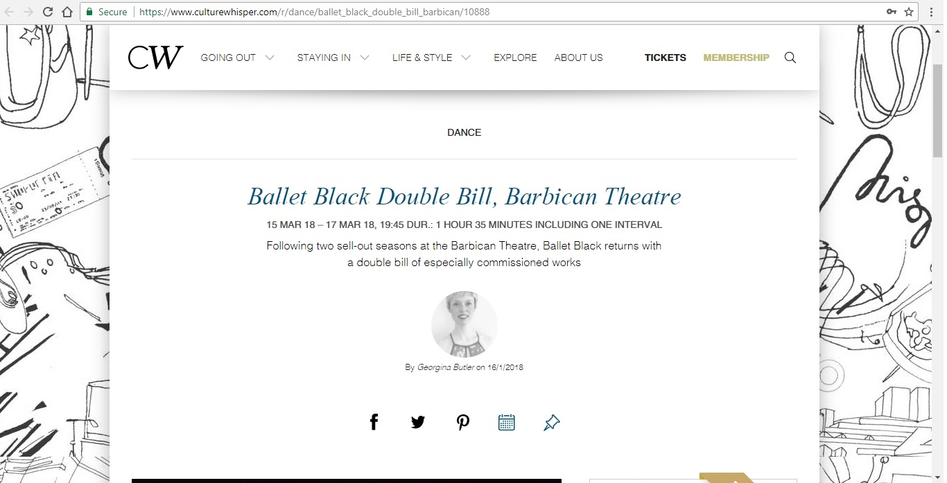 Screenshot of Culture Whisper content by Georgina Butler. Preview of Ballet Black Double Bill, image 1