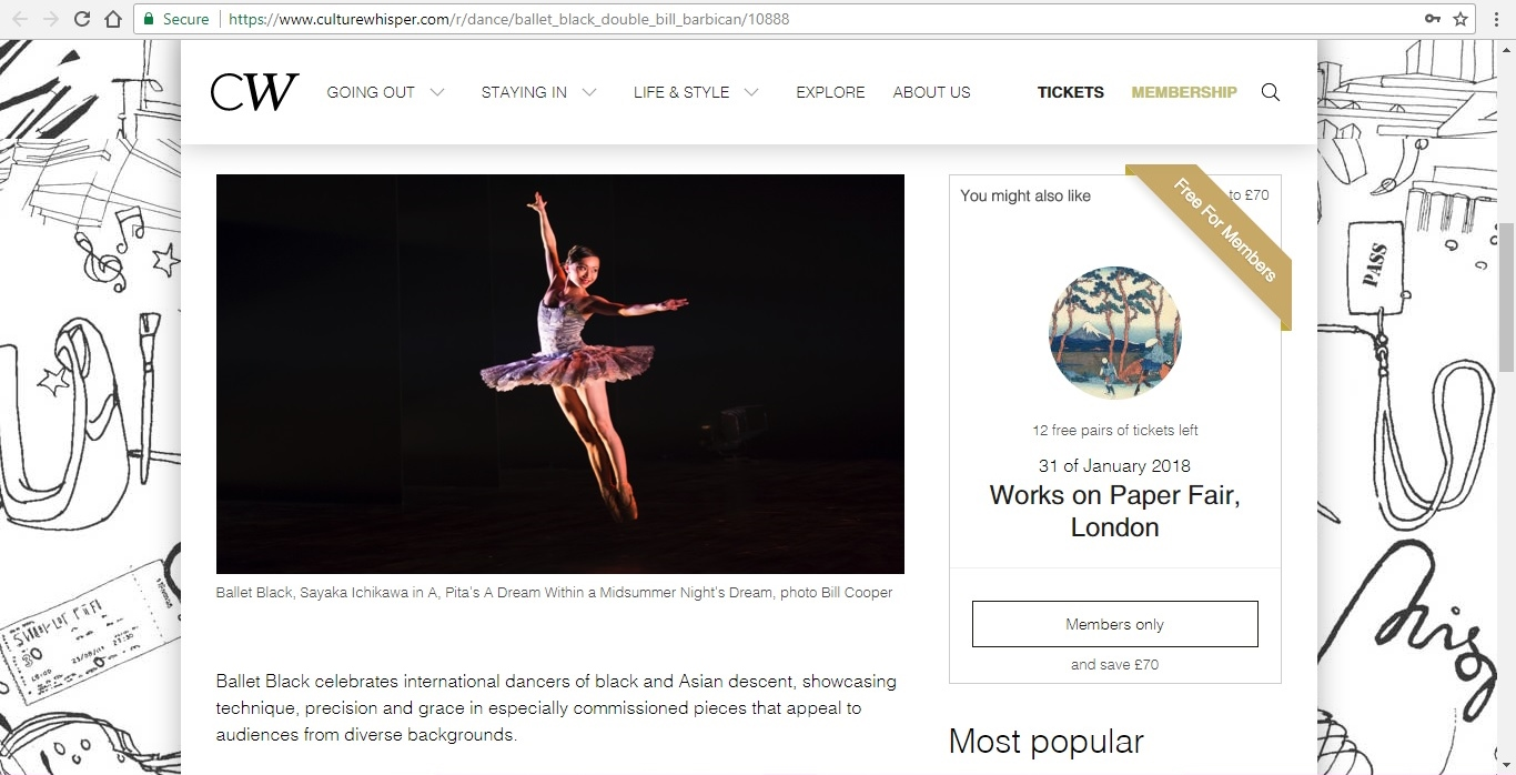 Screenshot of Culture Whisper content by Georgina Butler. Preview of Ballet Black Double Bill, image 2