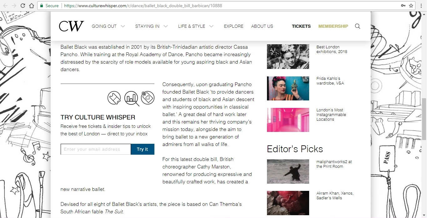 Screenshot of Culture Whisper content by Georgina Butler. Preview of Ballet Black Double Bill, image 3