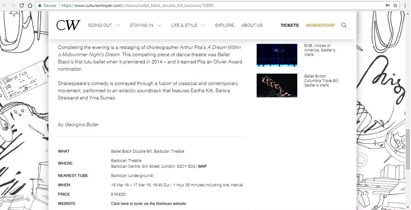 Screenshot of Culture Whisper content by Georgina Butler. Preview of Ballet Black Double Bill, image 4