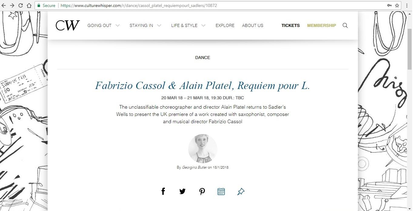 Screenshot of Culture Whisper content by Georgina Butler. Preview of Fabrizio Cassol and Alain Platel: Requiem pour L., image 1