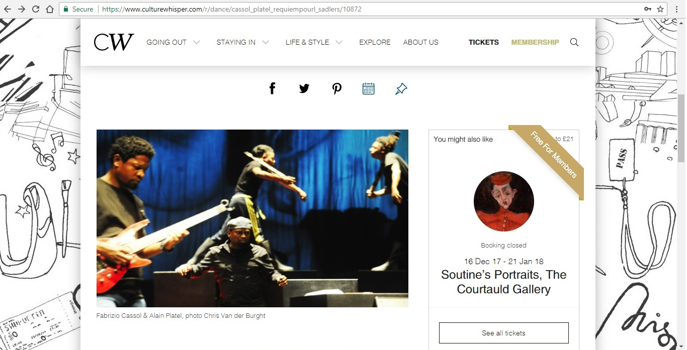 Screenshot of Culture Whisper content by Georgina Butler. Preview of Fabrizio Cassol and Alain Platel: Requiem pour L., image 2