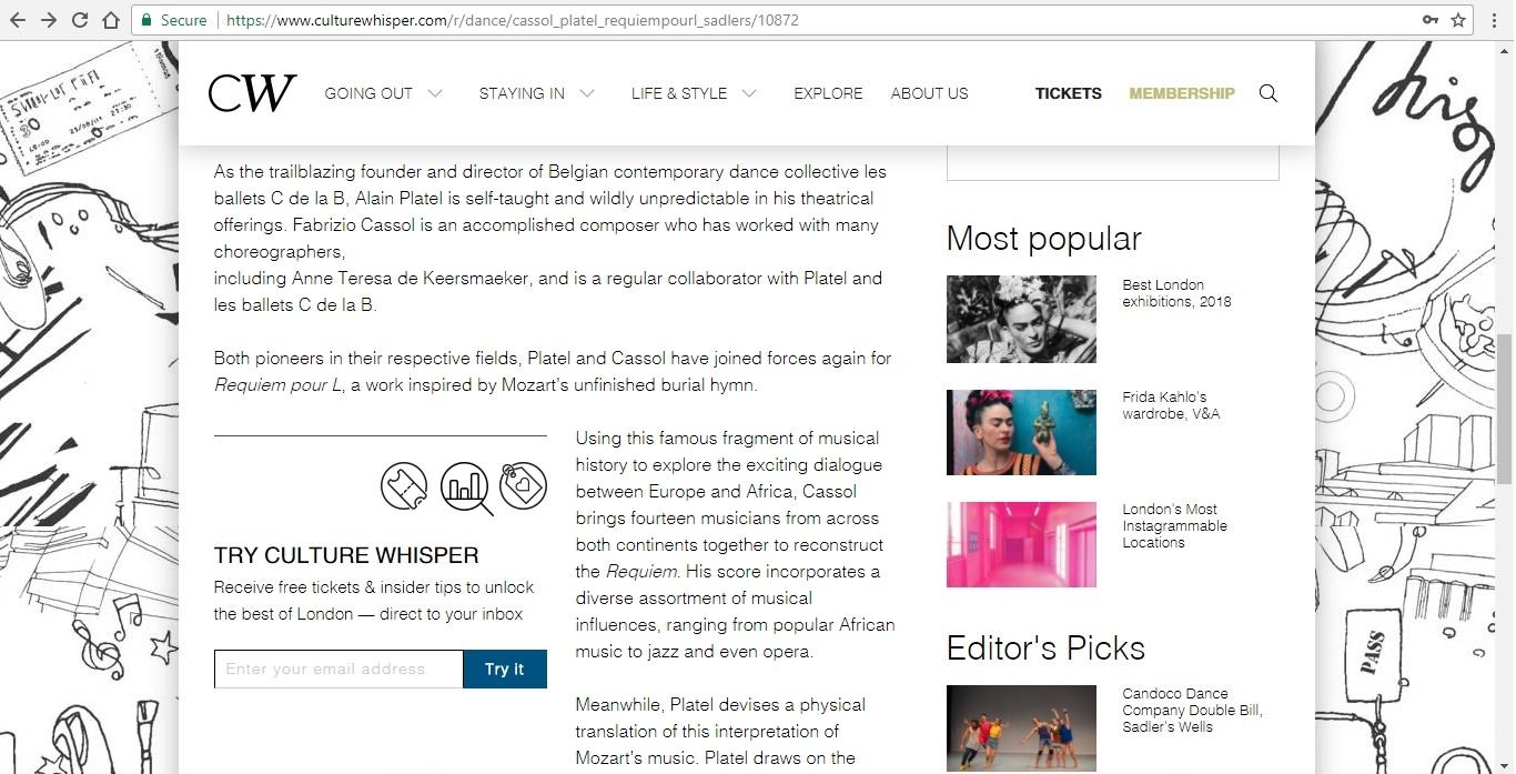 Screenshot of Culture Whisper content by Georgina Butler. Preview of Fabrizio Cassol and Alain Platel: Requiem pour L., image 3
