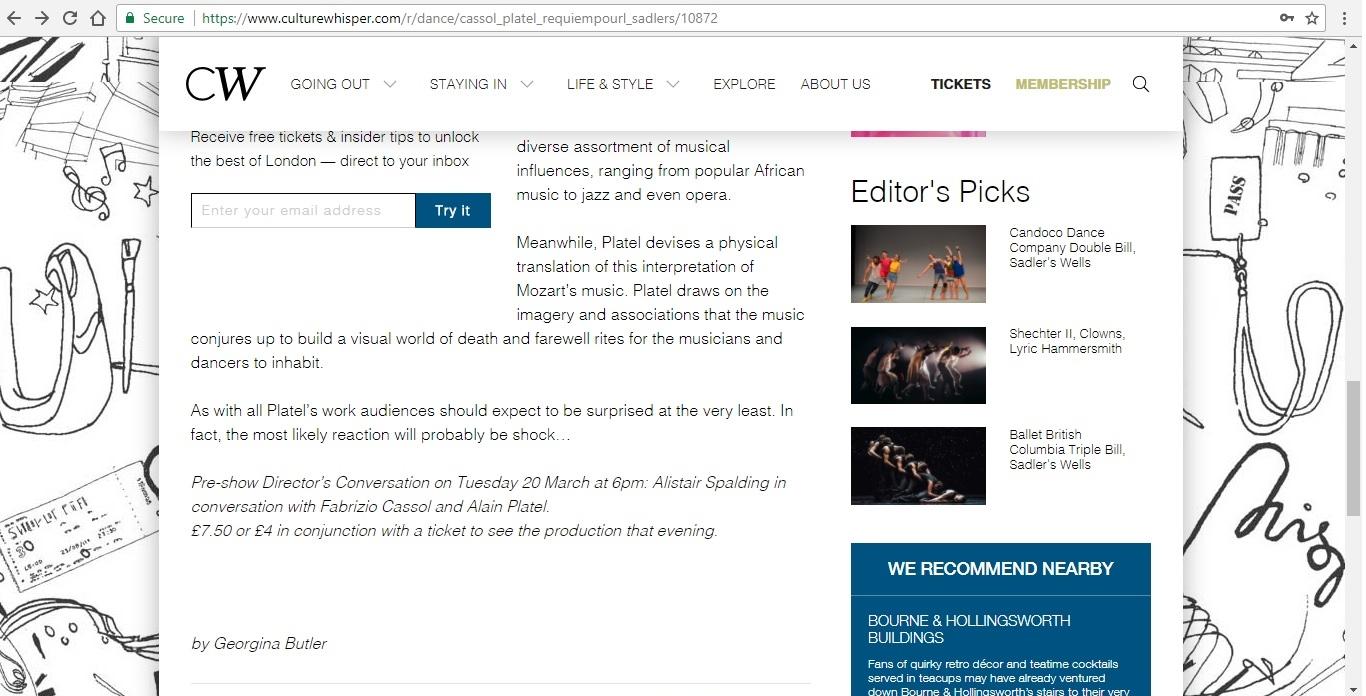 Screenshot of Culture Whisper content by Georgina Butler. Preview of Fabrizio Cassol and Alain Platel: Requiem pour L., image 4