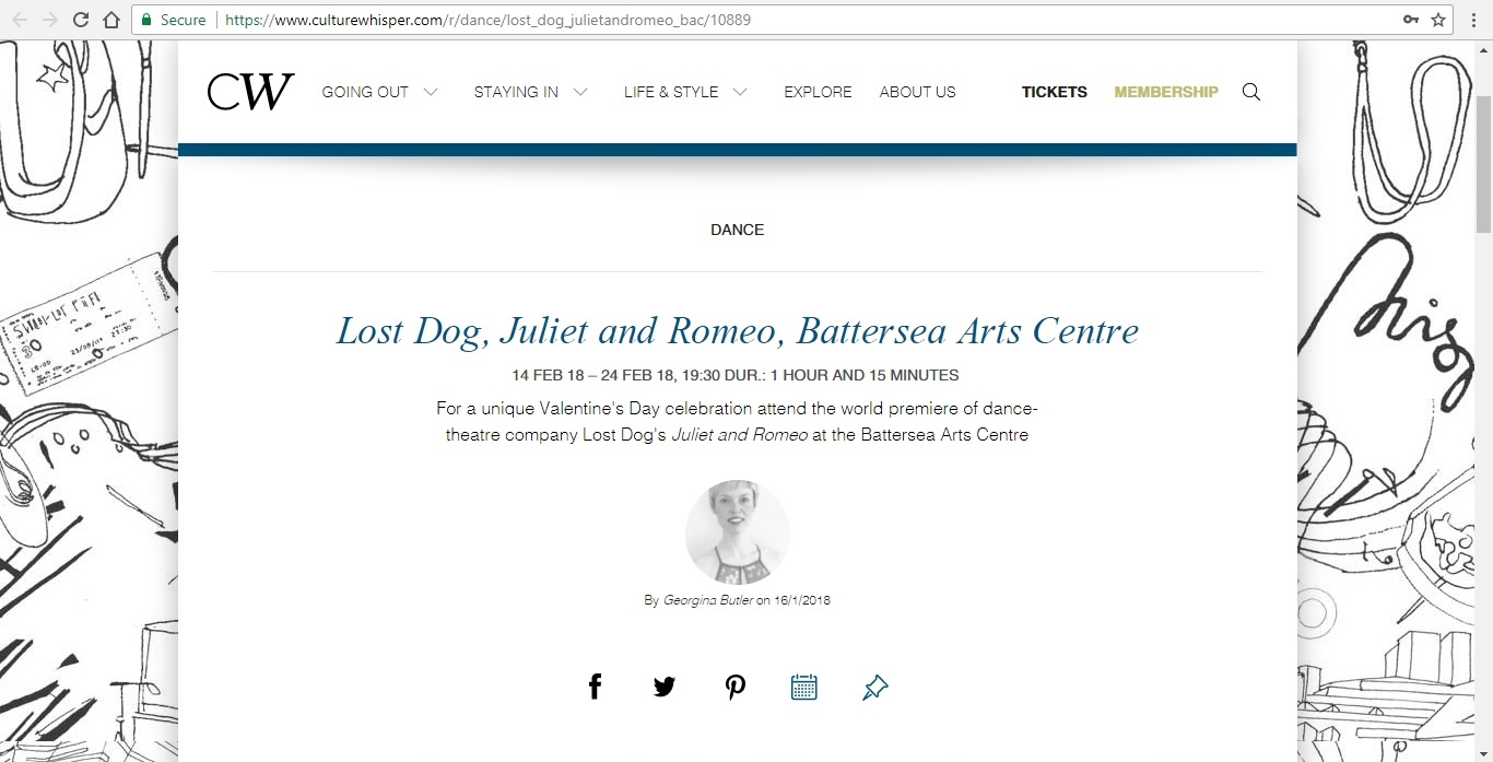 Screenshot of Culture Whisper content by Georgina Butler. Preview of Lost Dog: Juliet and Romeo, image 1