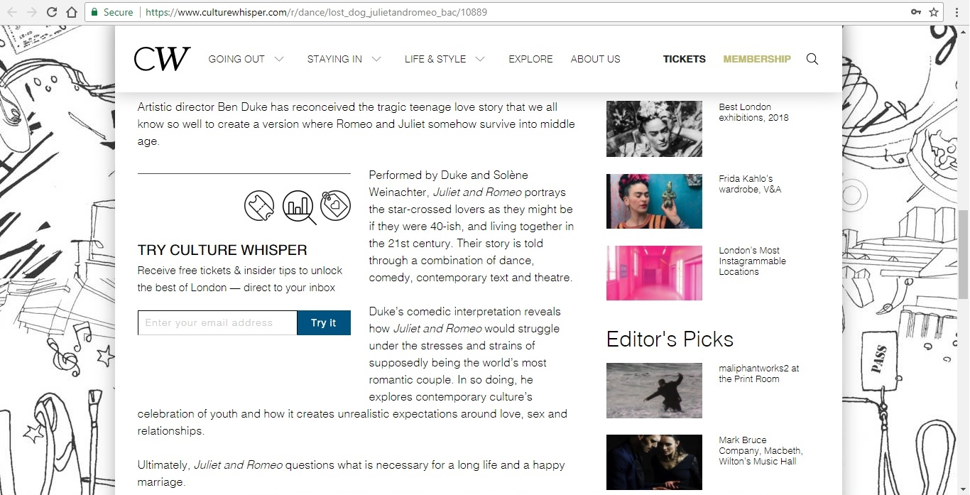 Screenshot of Culture Whisper content by Georgina Butler. Preview of Lost Dog: Juliet and Romeo, image 3