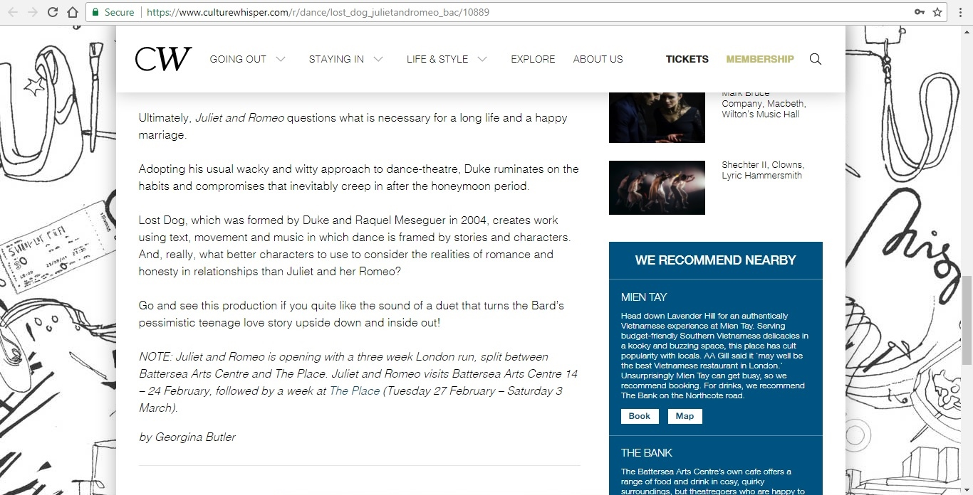 Screenshot of Culture Whisper content by Georgina Butler. Preview of Lost Dog: Juliet and Romeo, image 4