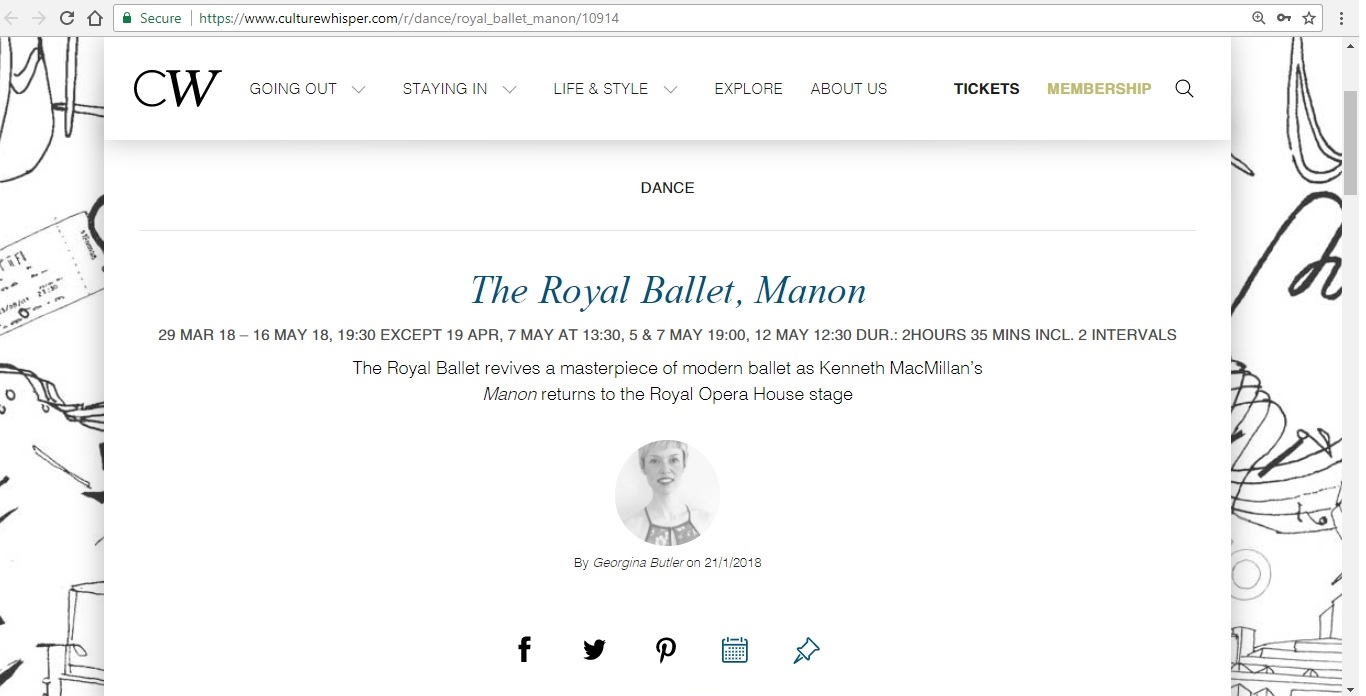 Screenshot of Culture Whisper content by Georgina Butler. Preview of The Royal Ballet: Manon, image 1