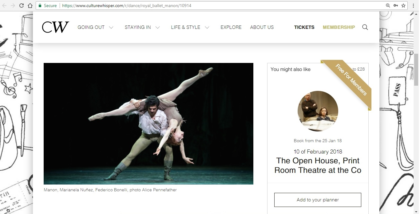 Screenshot of Culture Whisper content by Georgina Butler. Preview of The Royal Ballet: Manon, image 2