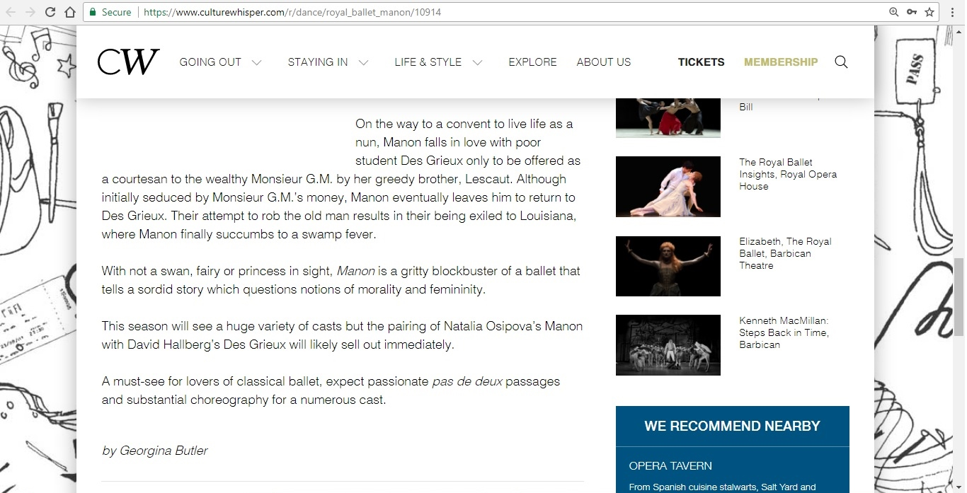 Screenshot of Culture Whisper content by Georgina Butler. Preview of The Royal Ballet: Manon, image 4