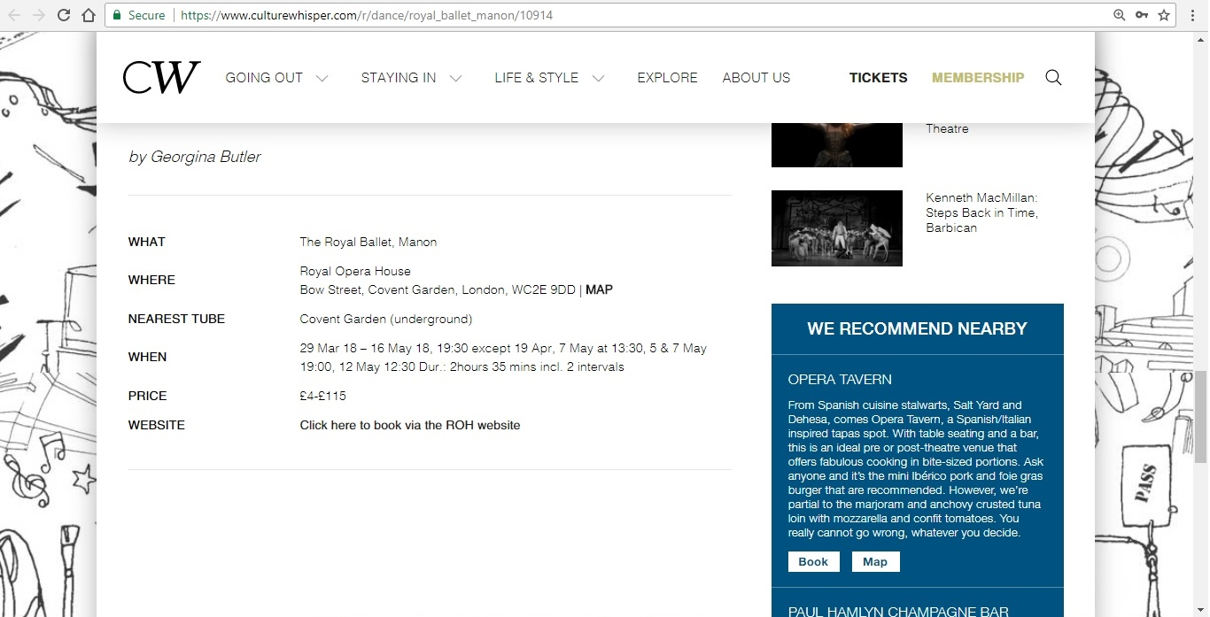 Screenshot of Culture Whisper content by Georgina Butler. Preview of The Royal Ballet: Manon, image 5