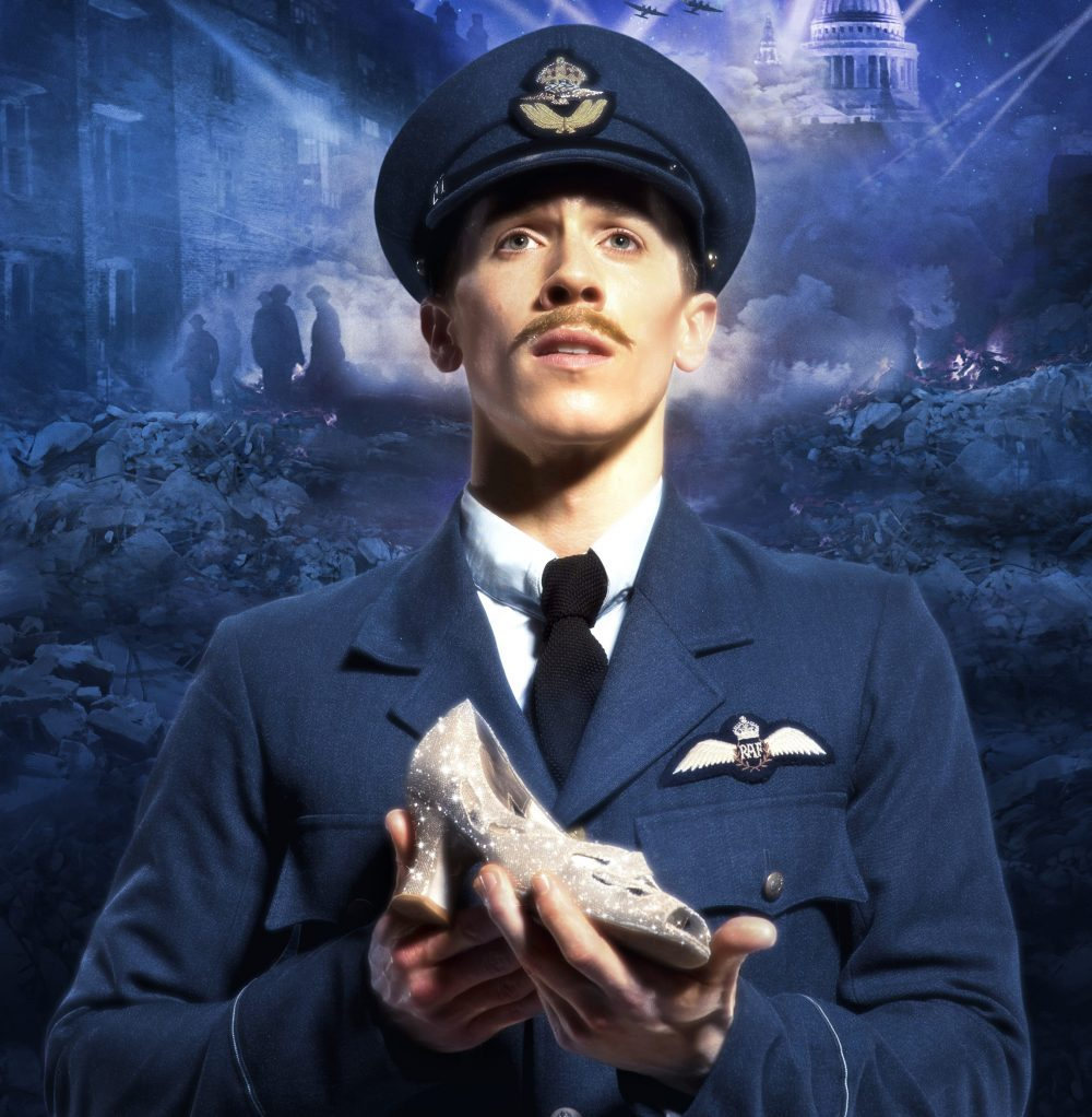 Matthew Bourne's Cinderella. Matthew Bourne's New Adventures publicity image of a male dancer dressed in a Second World War RAF officer's uniform, holding a sparkly high-heeled shoe. The destruction of the Blitz is shown in the background.