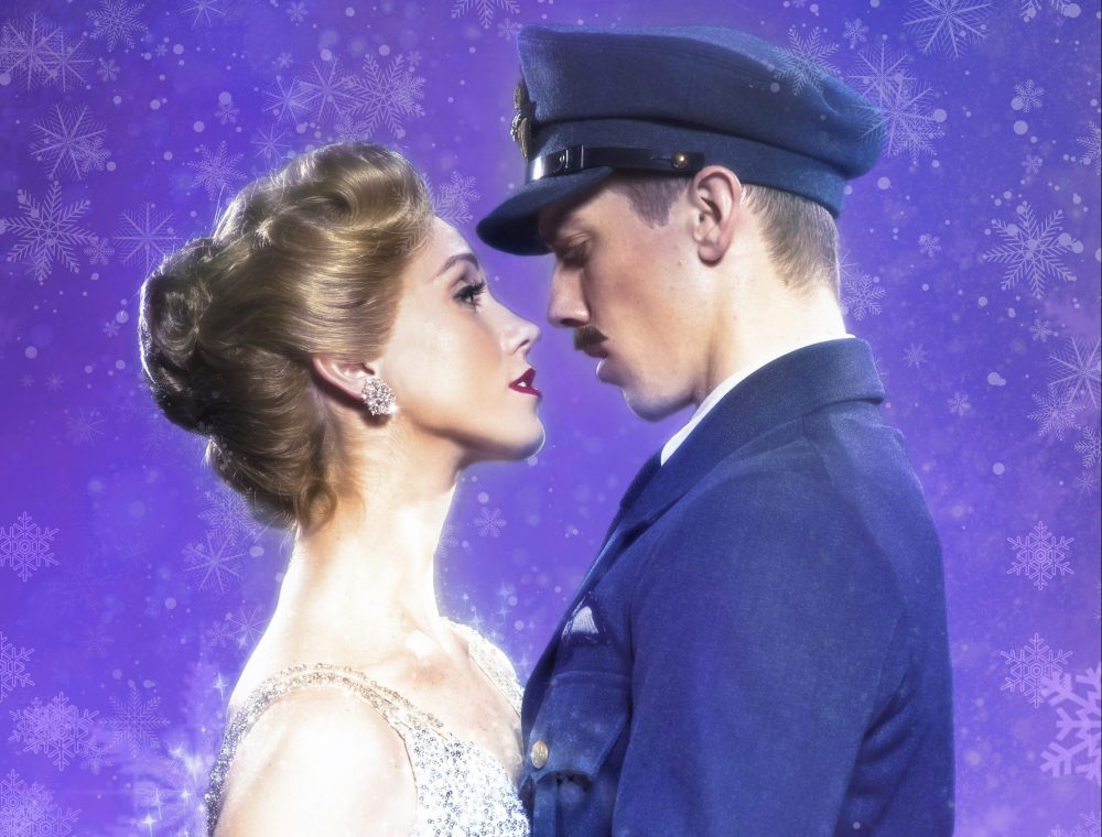 Matthew Bourne's Cinderella. Matthew Bourne's New Adventures publicity image showing a female and male dancer gazing into each others' eyes. She is wearing a sparkly dress and diamond earrings, he is wearing a Second World War RAF officer's uniform.