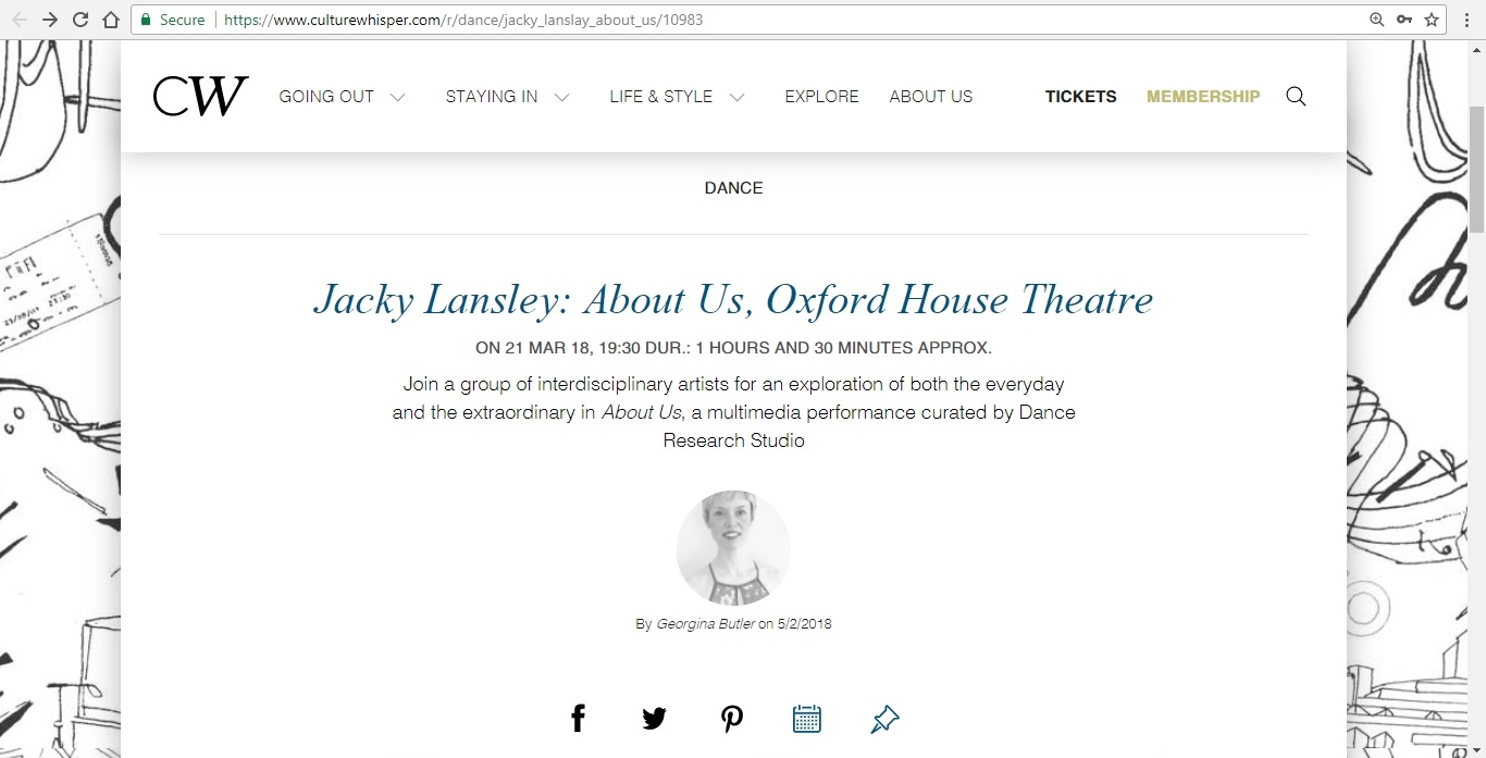 Screenshot of Culture Whisper content by Georgina Butler. Preview of Jacky Lansley: About Us, image 1