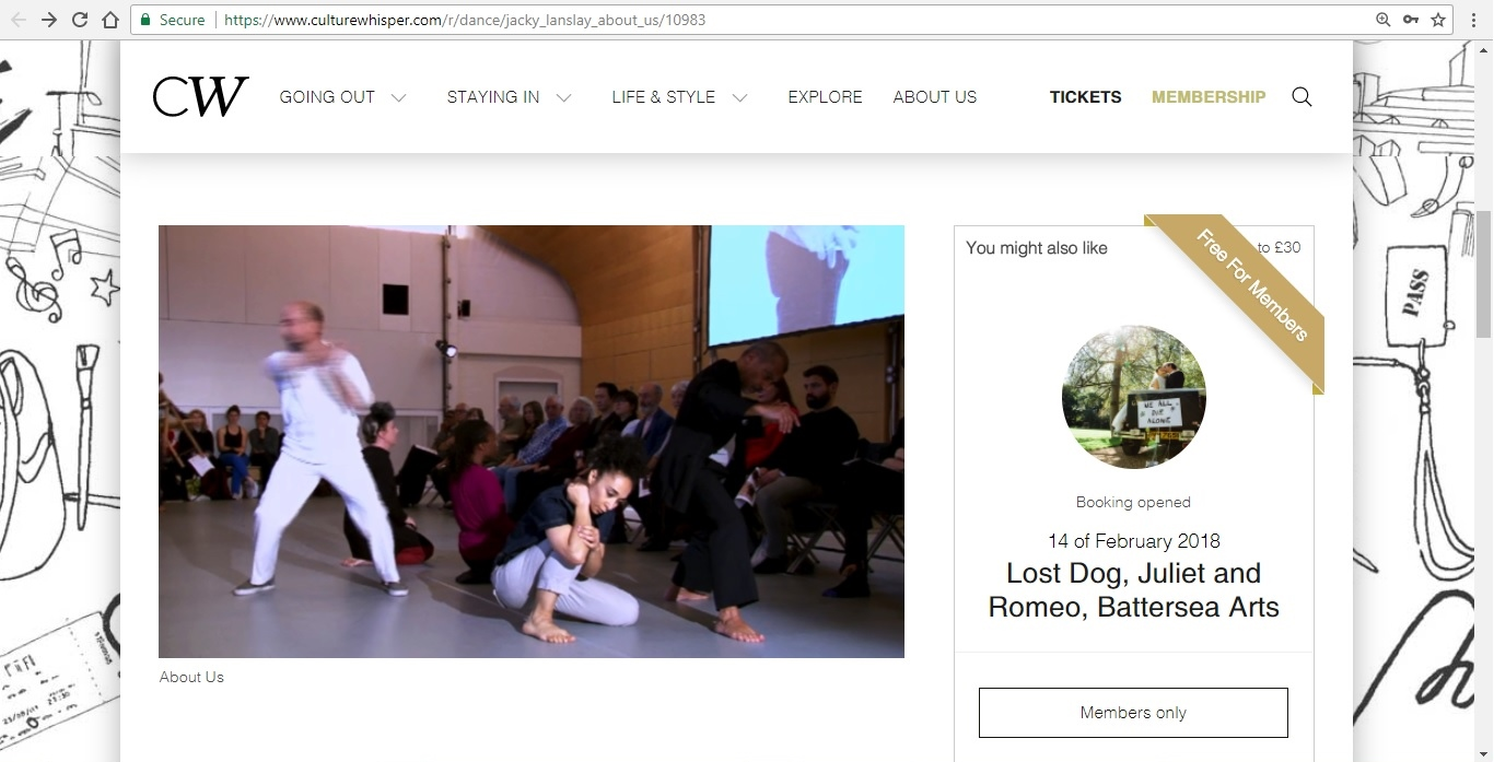 Screenshot of Culture Whisper content by Georgina Butler. Preview of Jacky Lansley: About Us, image 2