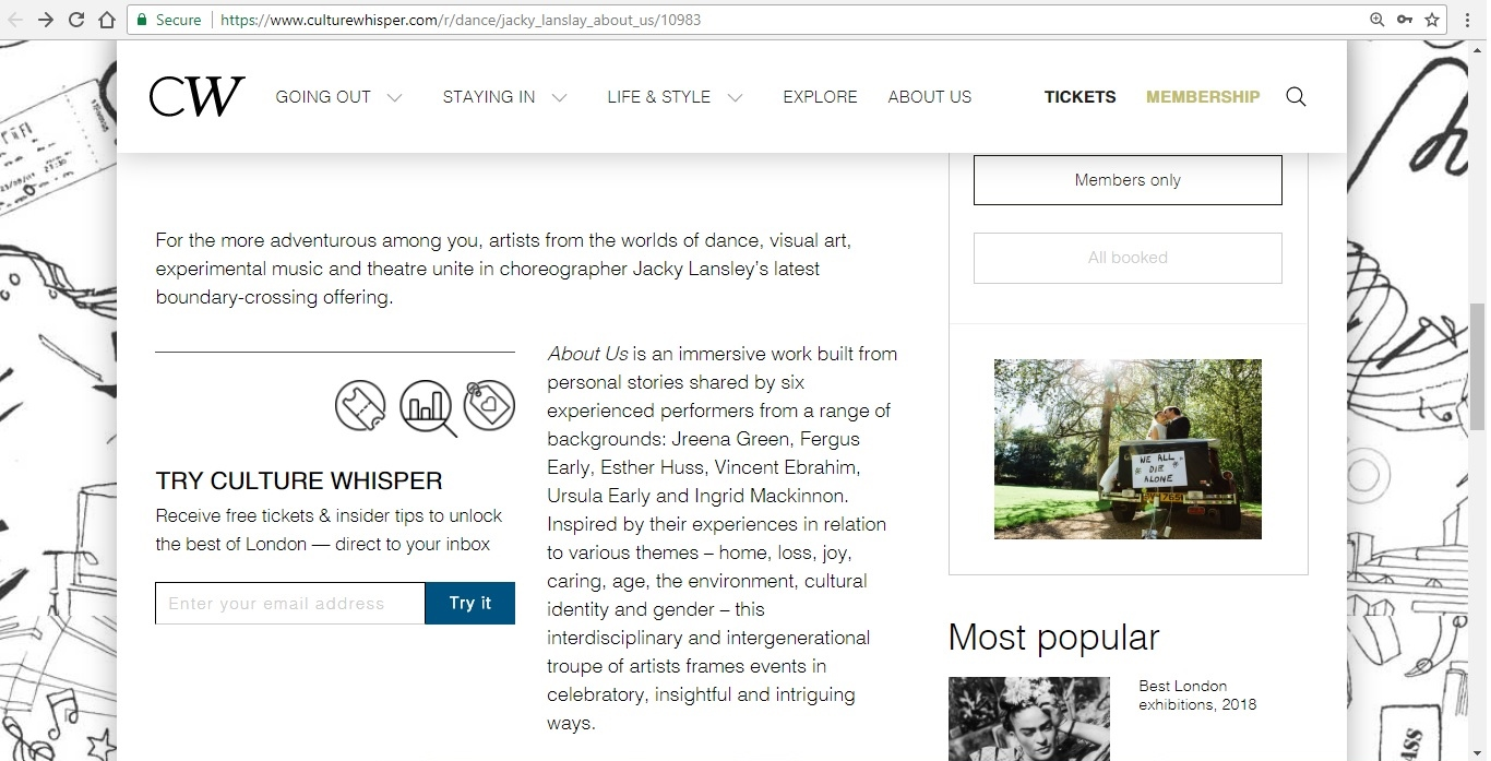 Screenshot of Culture Whisper content by Georgina Butler. Preview of Jacky Lansley: About Us, image 3