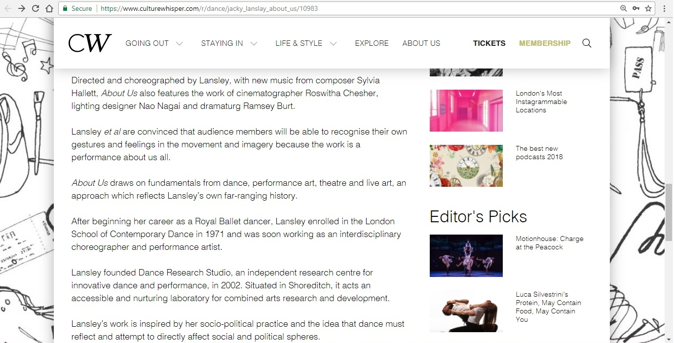 Screenshot of Culture Whisper content by Georgina Butler. Preview of Jacky Lansley: About Us, image 4