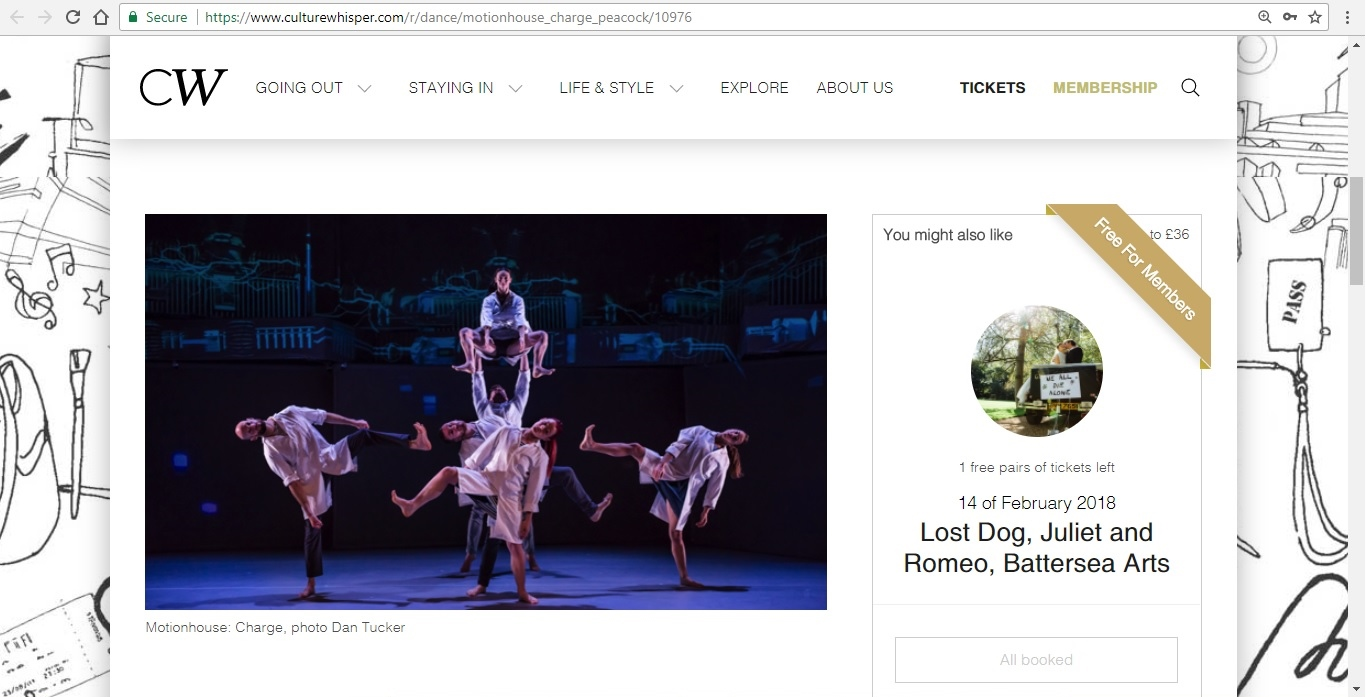 Screenshot of Culture Whisper content by Georgina Butler. Preview of Motionhouse: Charge, image 2