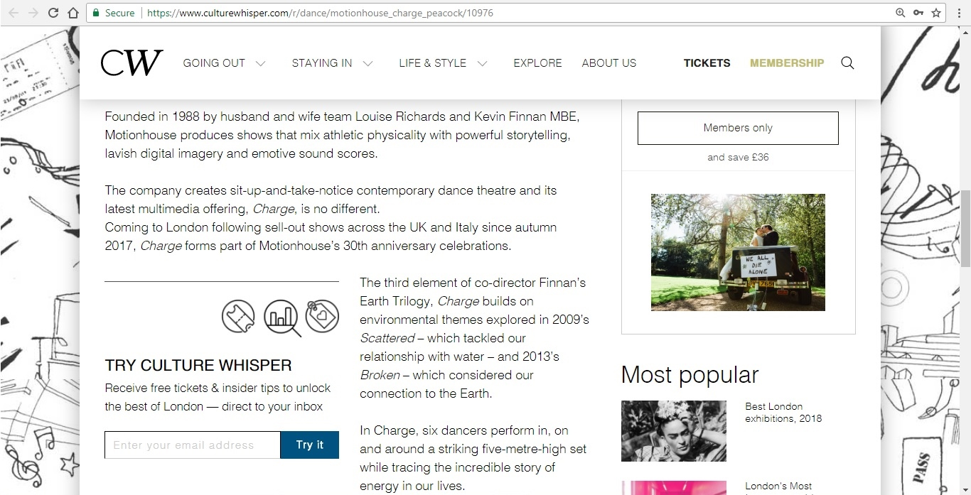Screenshot of Culture Whisper content by Georgina Butler. Preview of Motionhouse: Charge, image 3