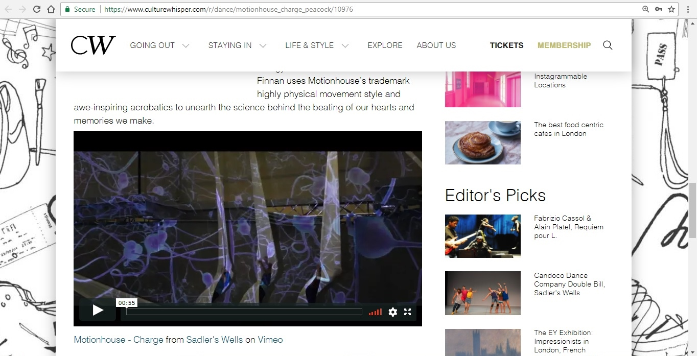 Screenshot of Culture Whisper content by Georgina Butler. Preview of Motionhouse: Charge, image 4