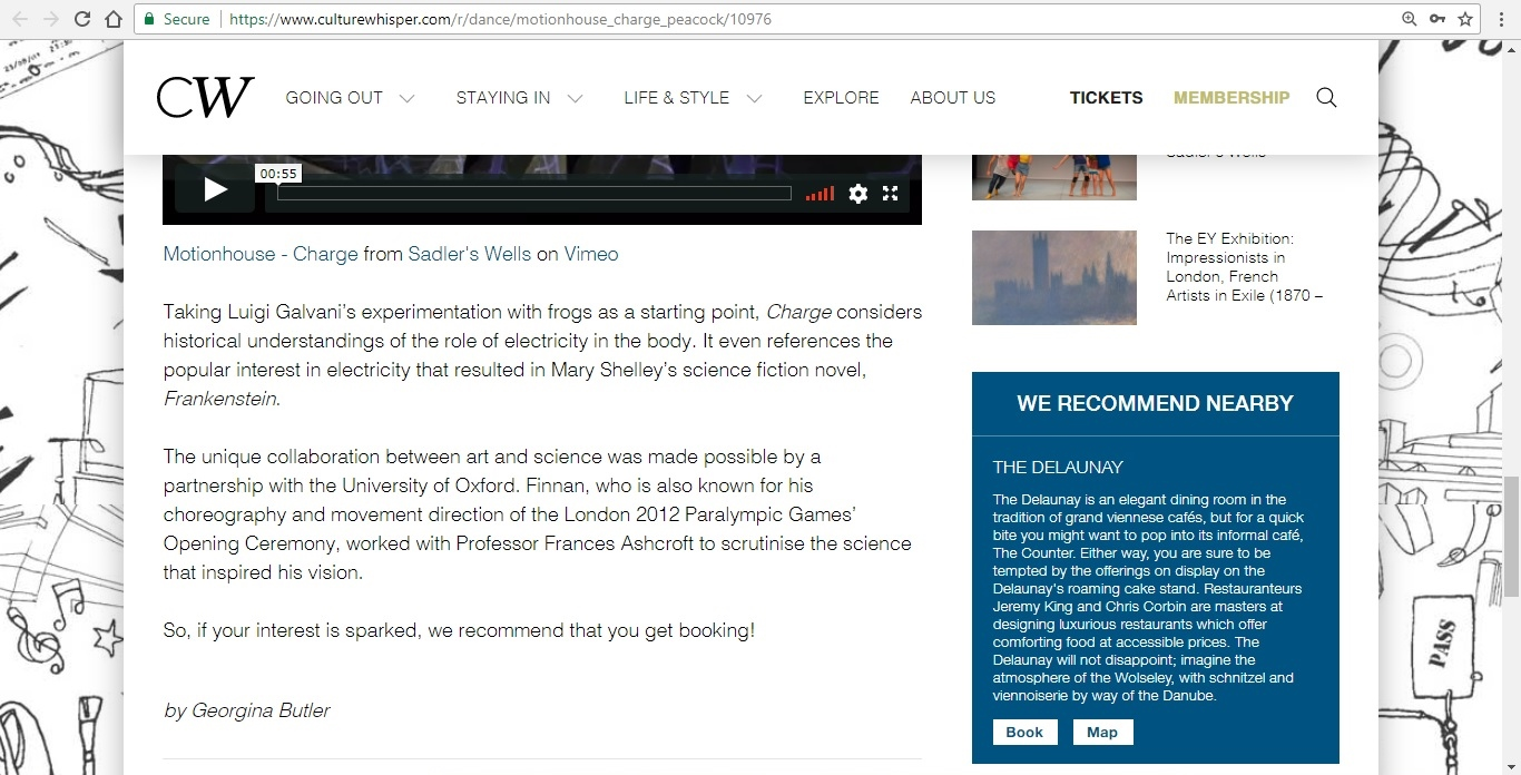 Screenshot of Culture Whisper content by Georgina Butler. Preview of Motionhouse: Charge, image 5
