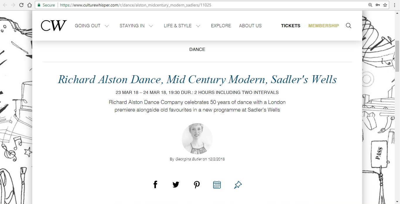 Screenshot of Culture Whisper content by Georgina Butler. Preview of Richard Alston Dance: Mid Century Modern, image 1
