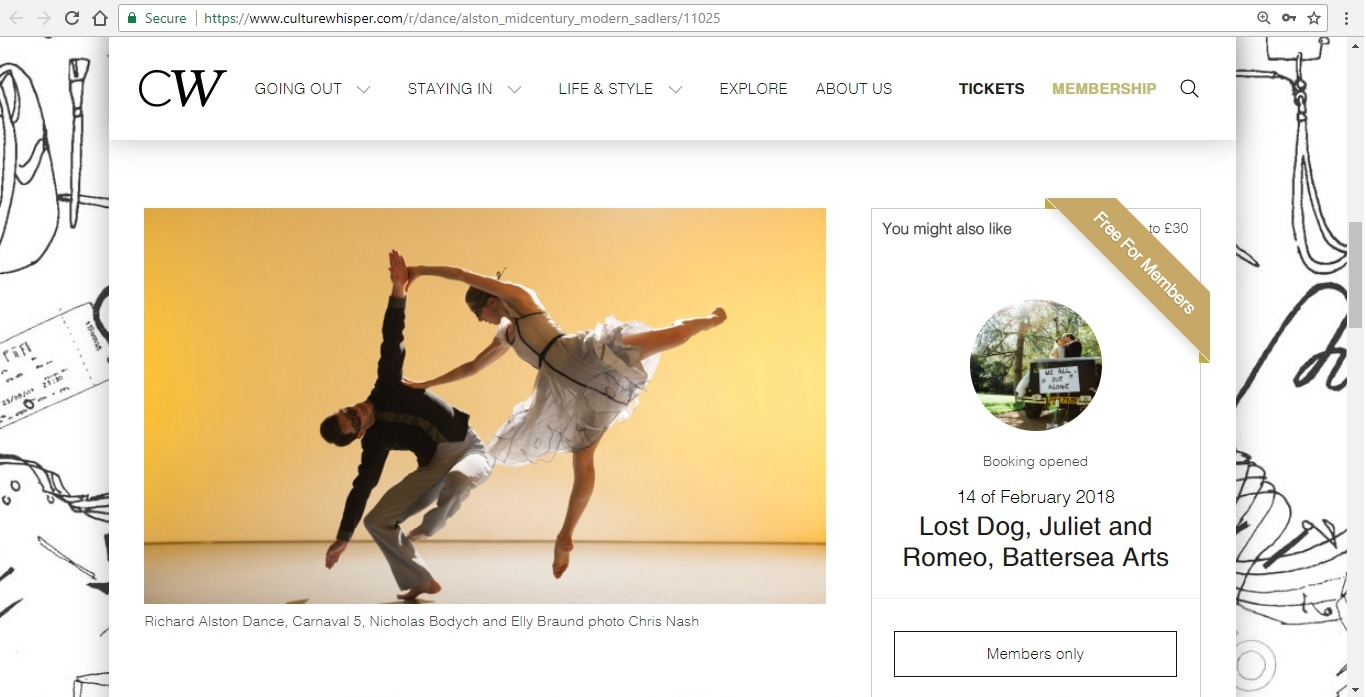 Screenshot of Culture Whisper content by Georgina Butler. Preview of Richard Alston Dance: Mid Century Modern, image 2