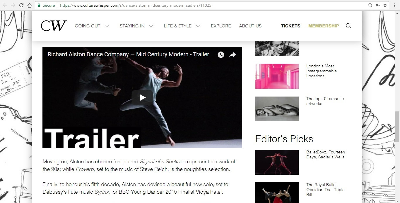 Screenshot of Culture Whisper content by Georgina Butler. Preview of Richard Alston Dance: Mid Century Modern, image 4