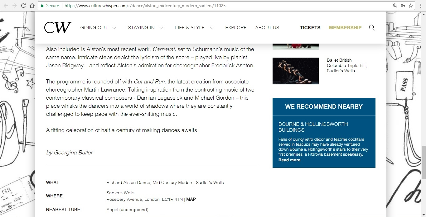 Screenshot of Culture Whisper content by Georgina Butler. Preview of Richard Alston Dance: Mid Century Modern, image 5