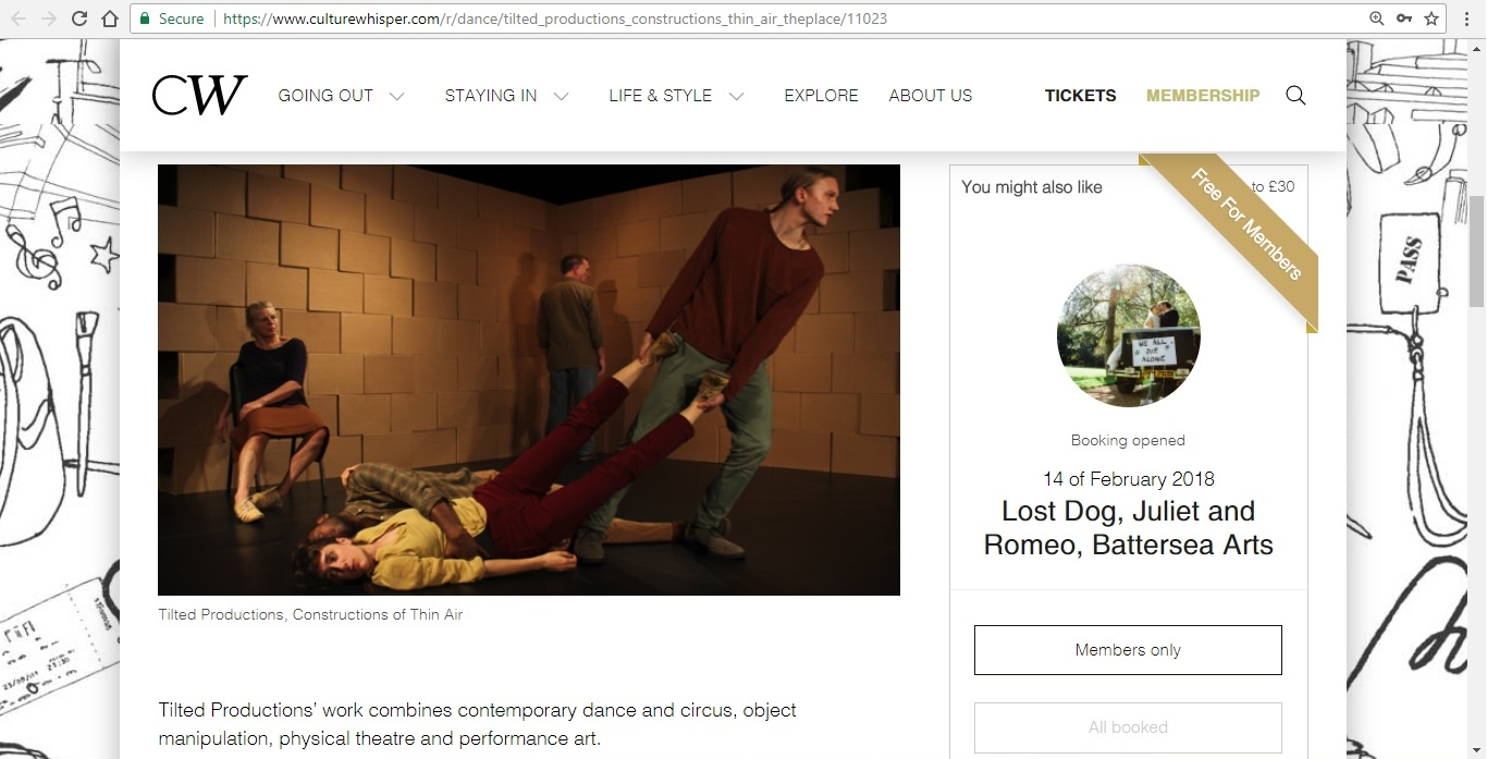 Screenshot of Culture Whisper content by Georgina Butler. Preview of Tilted Productions: Constructions of Thin Air, image 2