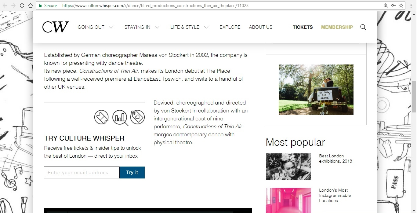Screenshot of Culture Whisper content by Georgina Butler. Preview of Tilted Productions: Constructions of Thin Air, image 3