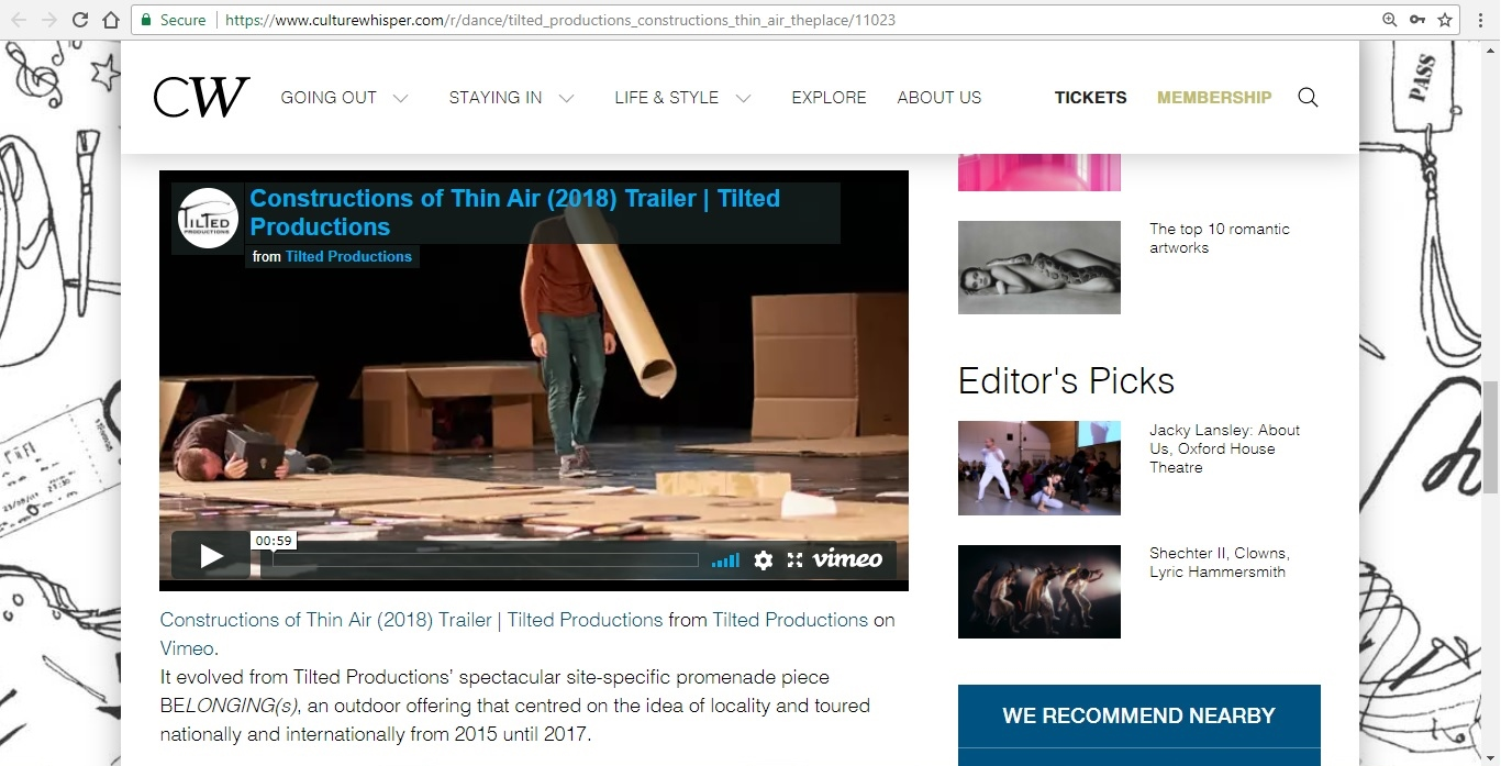 Screenshot of Culture Whisper content by Georgina Butler. Preview of Tilted Productions: Constructions of Thin Air, image 4