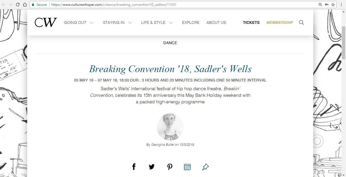Screenshot of Culture Whisper content by Georgina Butler. Preview of Breakin' Convention 2018, image 1