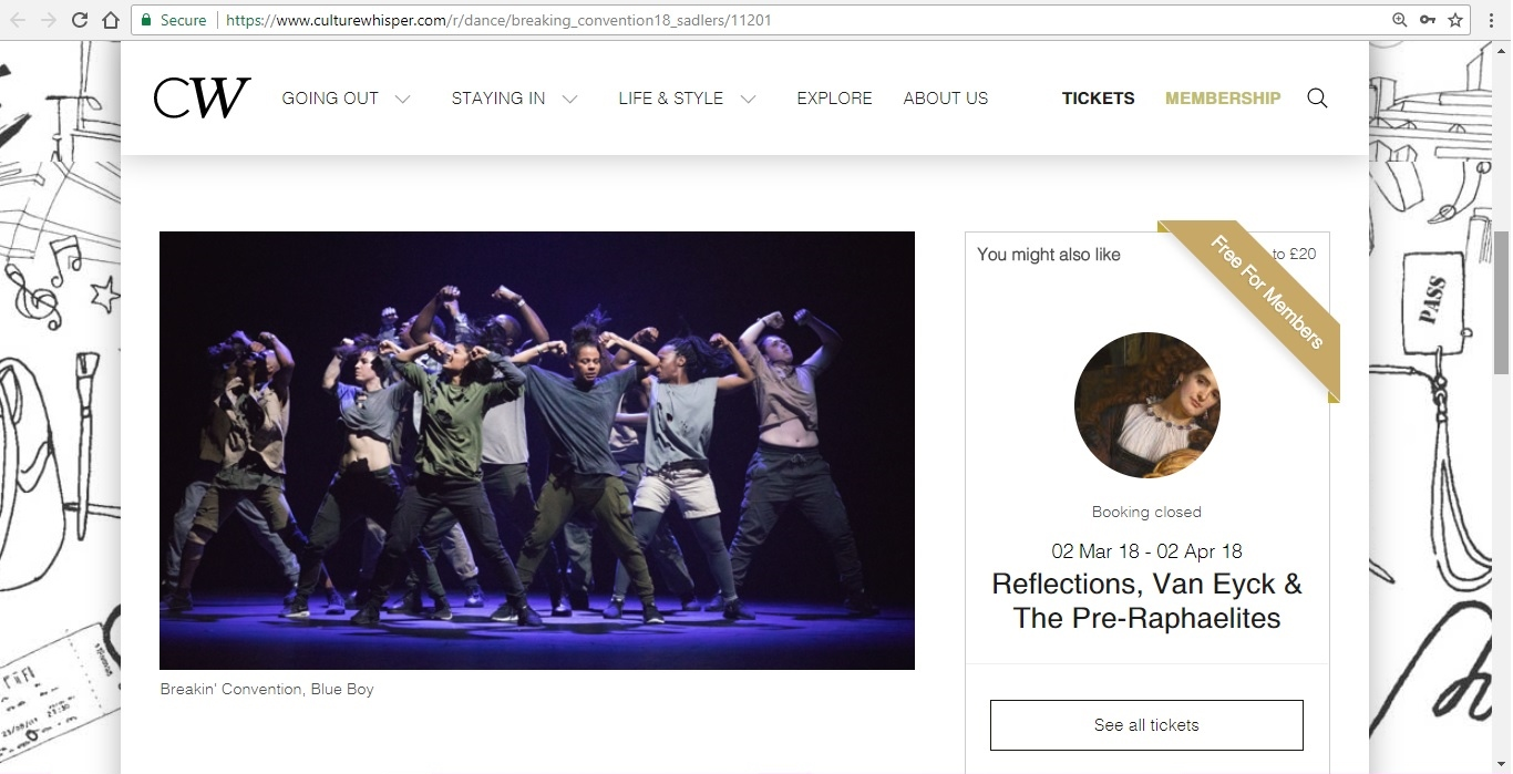 Screenshot of Culture Whisper content by Georgina Butler. Preview of Breakin' Convention 2018, image 2