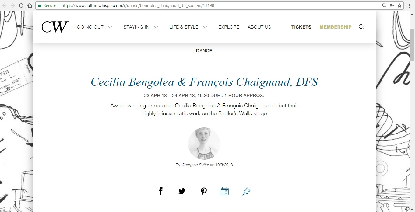 Screenshot of Culture Whisper content by Georgina Butler. Preview of Cecilia Bengolea and François Chaignaud: DFS, image 1