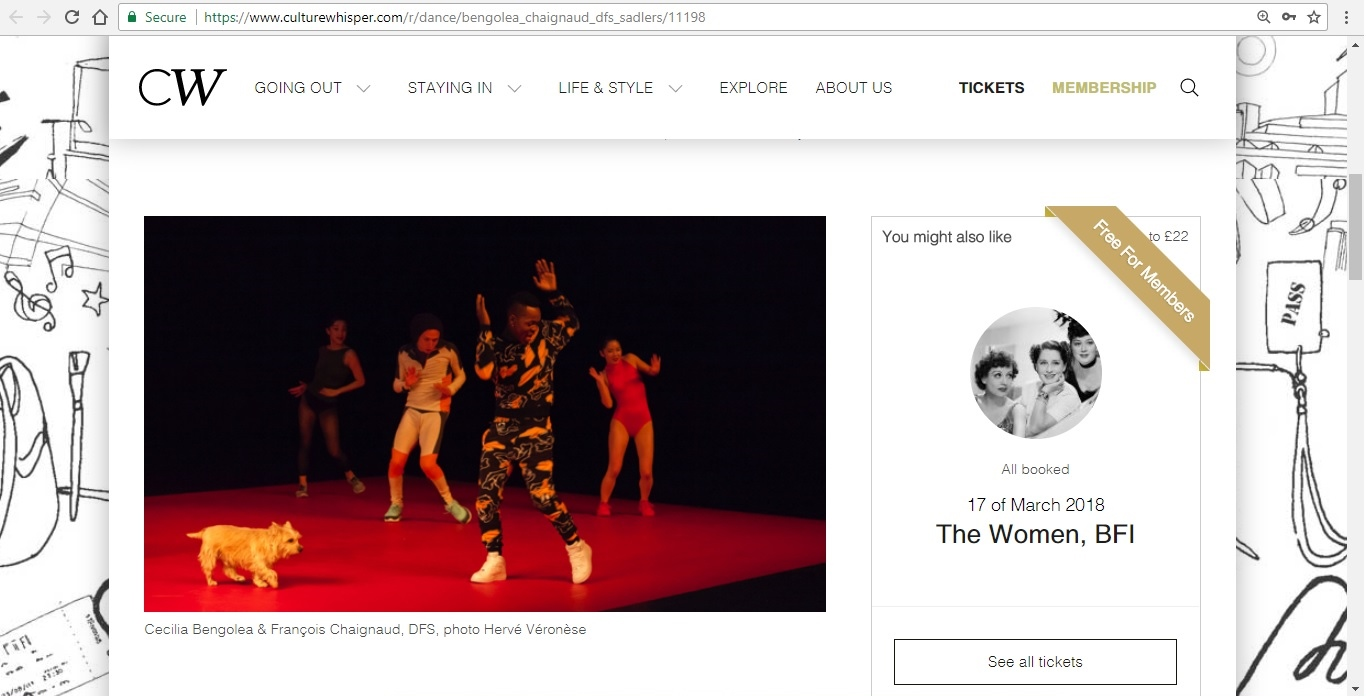 Screenshot of Culture Whisper content by Georgina Butler. Preview of Cecilia Bengolea and François Chaignaud: DFS, image 2