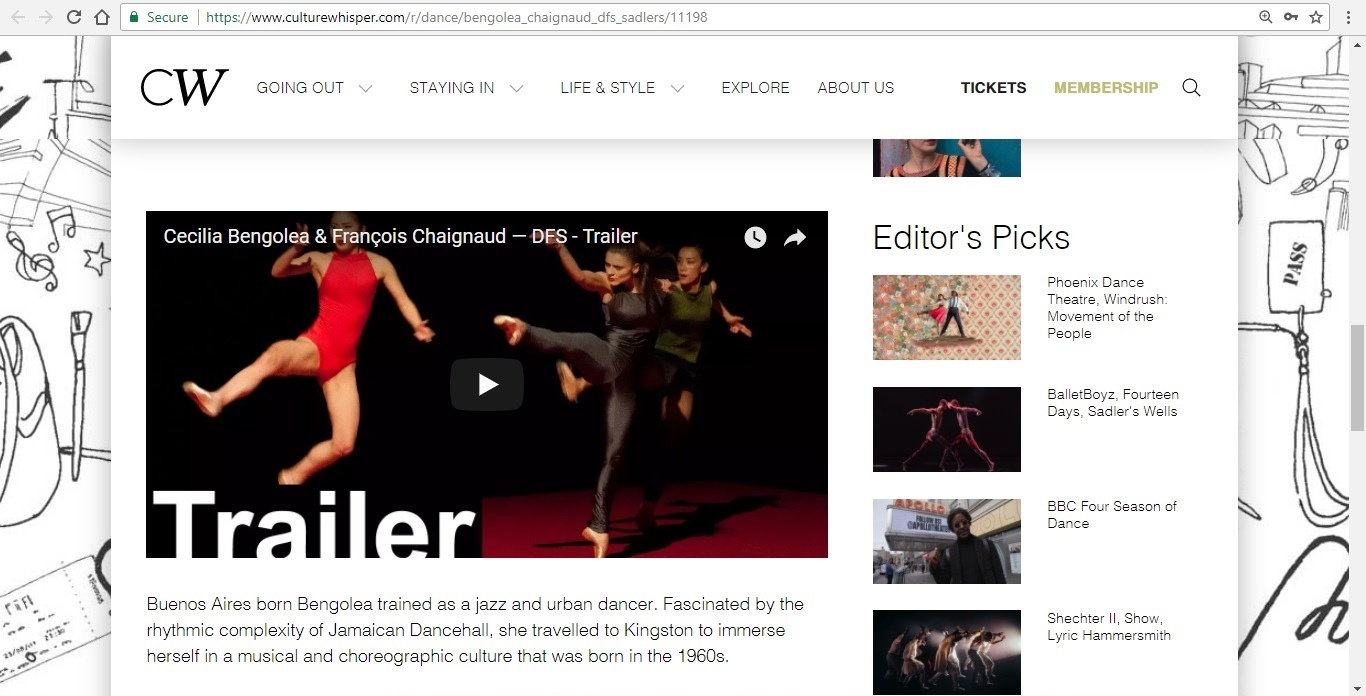 Screenshot of Culture Whisper content by Georgina Butler. Preview of Cecilia Bengolea and François Chaignaud: DFS, image 4