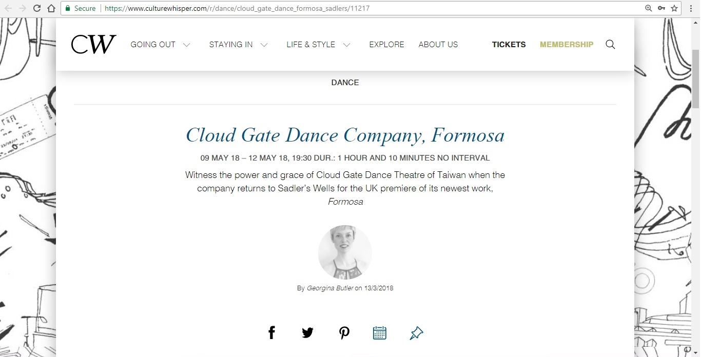 Screenshot of Culture Whisper content by Georgina Butler. Preview of Cloud Gate Dance Company: Formosa, image 1