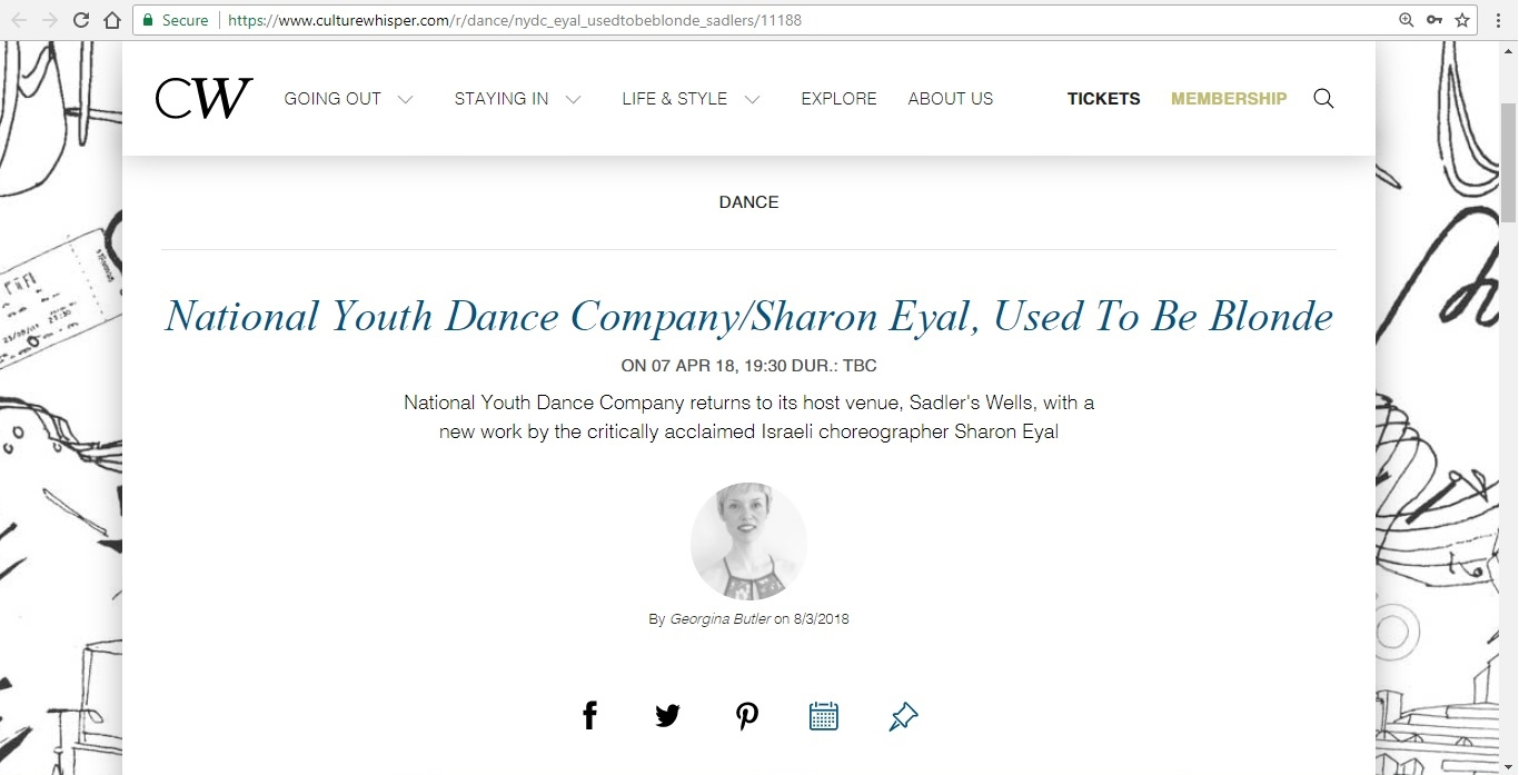 Screenshot of Culture Whisper content by Georgina Butler. Preview of National Youth Dance Company and Sharon Eyal: Used To Be Blonde, image 1