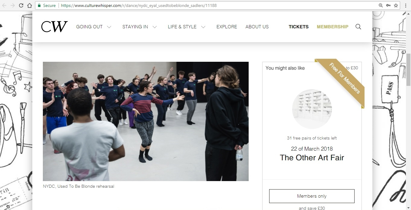Screenshot of Culture Whisper content by Georgina Butler. Preview of National Youth Dance Company and Sharon Eyal: Used To Be Blonde, image 2