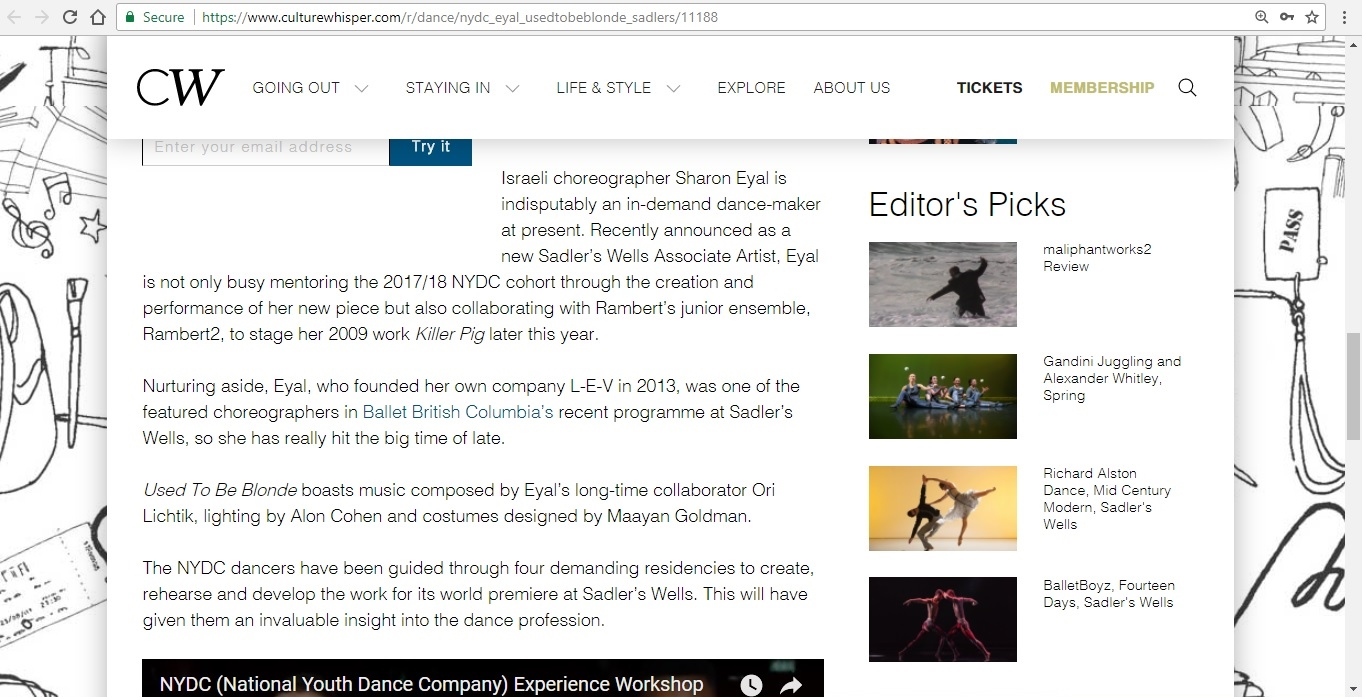 Screenshot of Culture Whisper content by Georgina Butler. Preview of National Youth Dance Company and Sharon Eyal: Used To Be Blonde, image 4