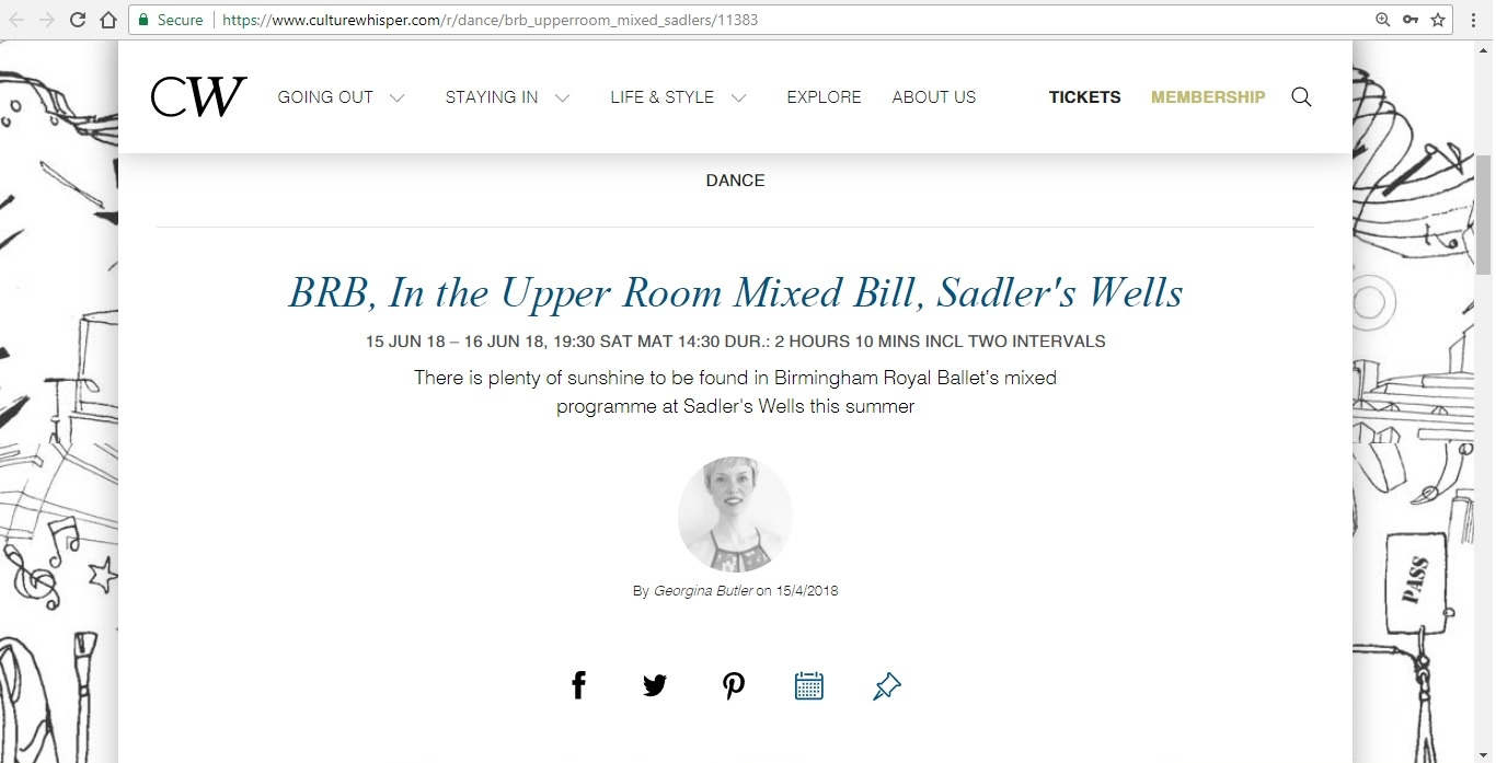 Screenshot of Culture Whisper content by Georgina Butler. Preview of Birmingham Royal Ballet: In the Upper Room Mixed Bill, image 1