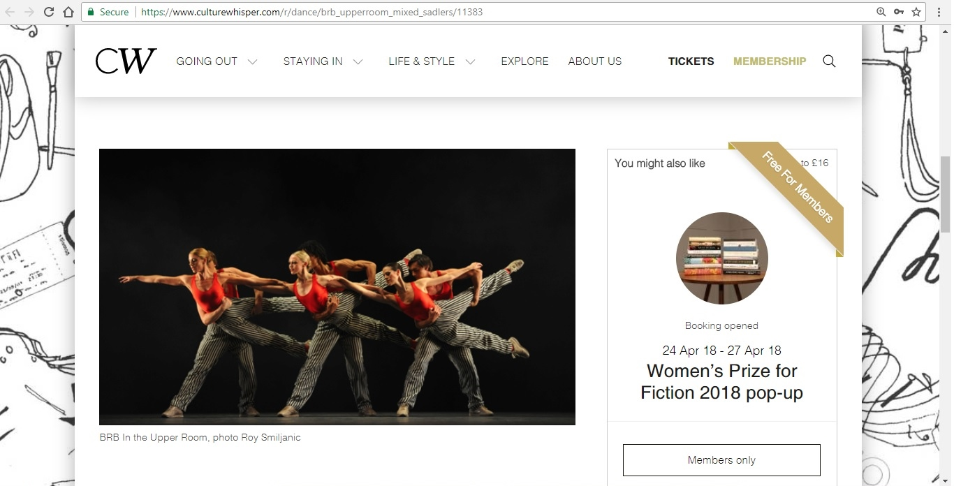 Screenshot of Culture Whisper content by Georgina Butler. Preview of Birmingham Royal Ballet: In the Upper Room Mixed Bill, image 2