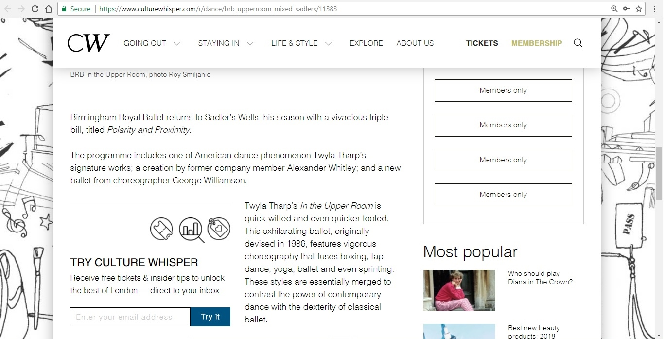 Screenshot of Culture Whisper content by Georgina Butler. Preview of Birmingham Royal Ballet: In the Upper Room Mixed Bill, image 3