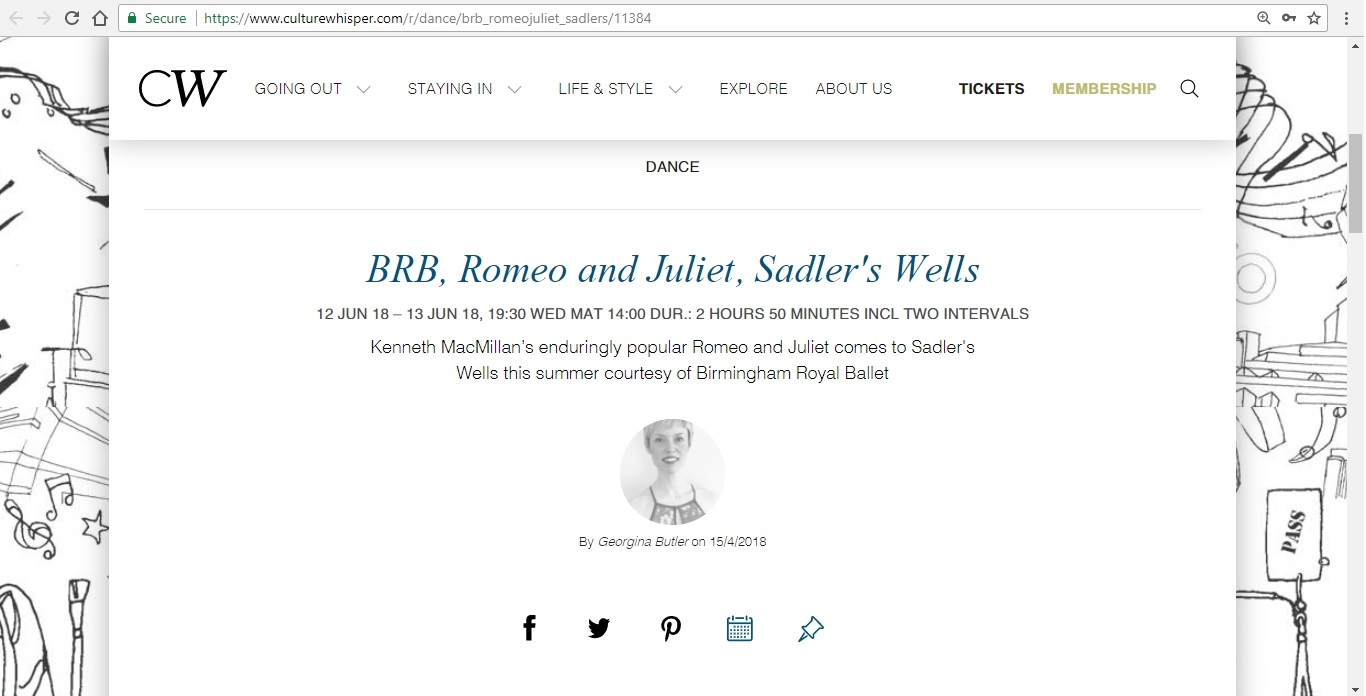 Screenshot of Culture Whisper content by Georgina Butler. Preview of Birmingham Royal Ballet: Romeo and Juliet, image 1